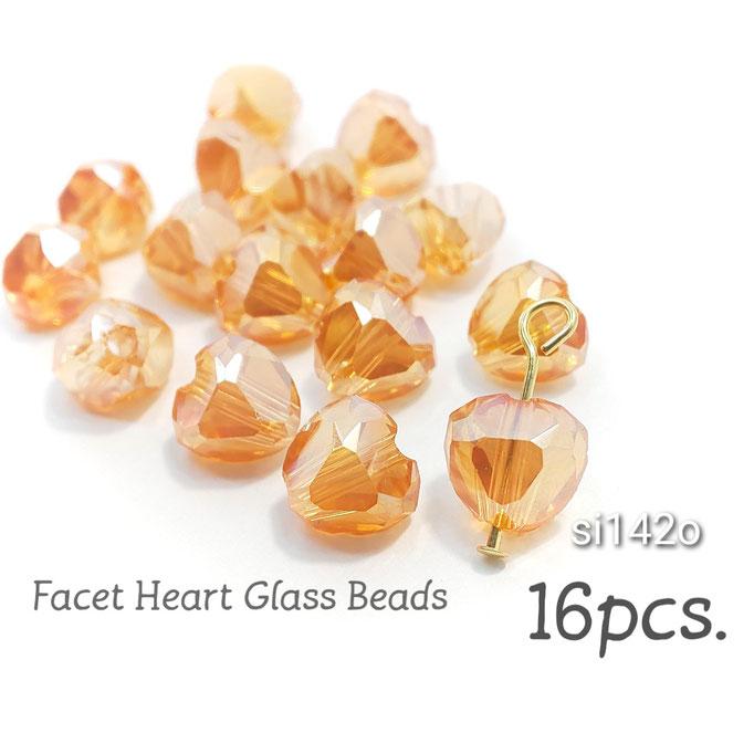 16個 約7×7.5mm ファセットハート電気鍍金ガラスビーズ☆オレンジ【si142or】