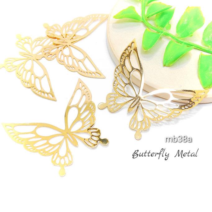 4個☆薄*銅製 おおぶり蝶々モチーフ*透かしメタルチャーム☆A 約40×46mm【mb38a】
