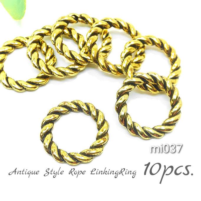 10個 アンティーク調*ロープデザイン メタルリンキングリング【mi037】