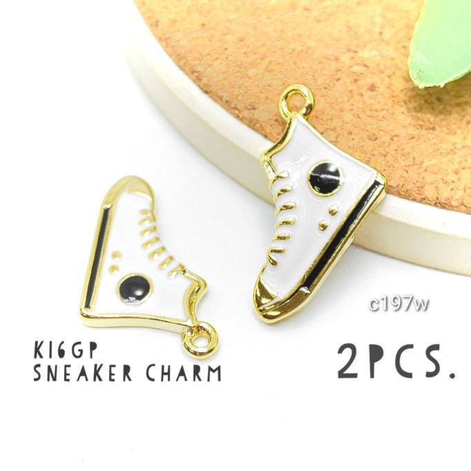 2個 高品質-k16gp エナメル光沢*スニーカーチャーム ホワイト【c197w】