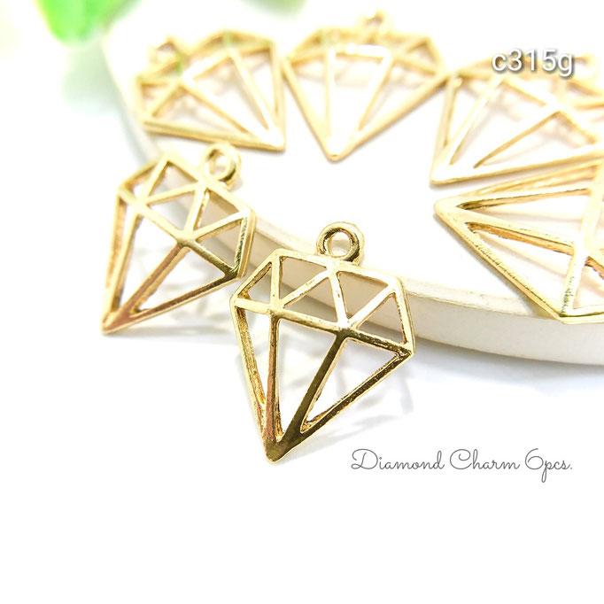 6個☆半立体ダイヤモンドモチーフチャーム☆ゴールド色【c315g】