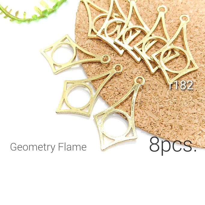 8個☆シンプル幾何学デザインフレーム☆空枠チャーム【r182】