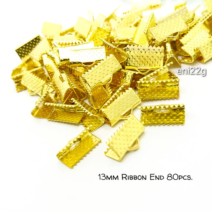 約80個☆13mm幅 ワニ口リボンエンドパーツ☆ゴールド色【eni22g】