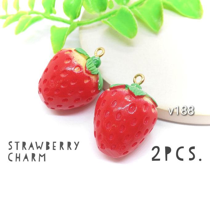 2個 大きめ*立体イチゴのチャーム【v188】