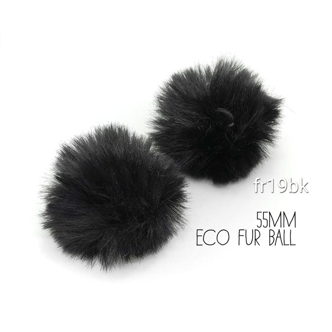 2個 おおきめ 約55mm ふんわりエコファーボール ループ付き☆ブラック【fr19bk】