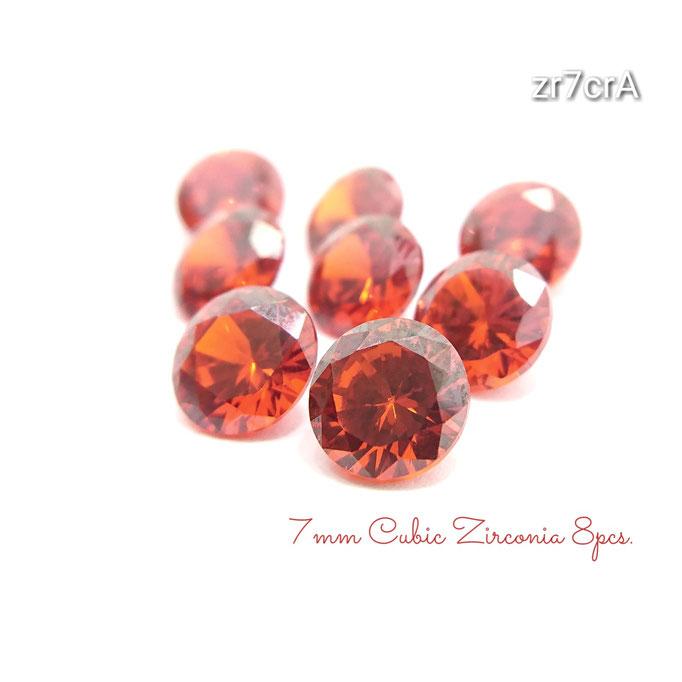 8粒☆7×4㎜ 高品質キュービックジルコニア《A》のダイヤカットストーン☆レッド【zr7crA】