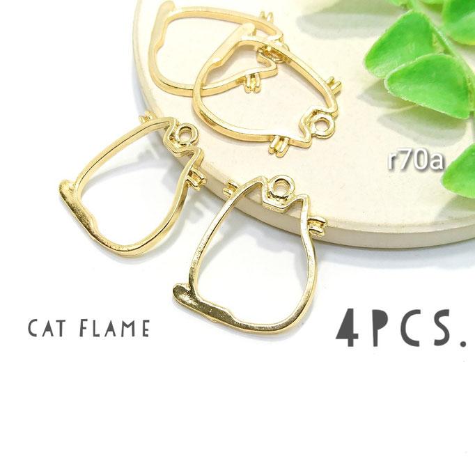4個☆猫モチーフのデザインフレーム☆Aまる猫 約24mm×21mm 【r70a】