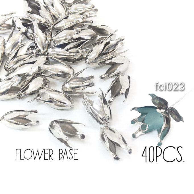 約40個 約13×8mm 花座 ビーズキャップ☆ロジウム色【fci023】