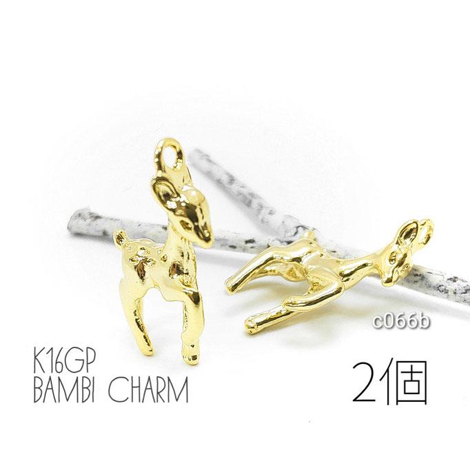 動物 鹿 チャーム バンビ 立体 k16gp 高品質鍍金 アニマル bambi モチーフ 2個/c066b