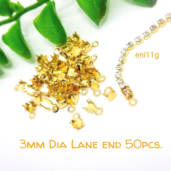 約50個☆3mm幅のダイヤレーン用カシメ☆エンドパーツ☆ゴールド【eni11g】