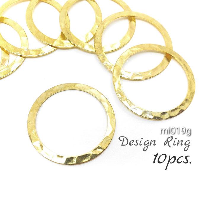 10個 約25mm 真鍮製・槌目細工デザインリング☆ゴールド色【mi019g】