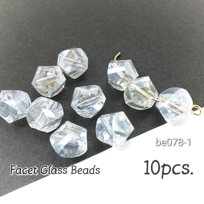 ビーズ ガラスビーズ 約8mm ファセットカット 10個 クリア/be078-1