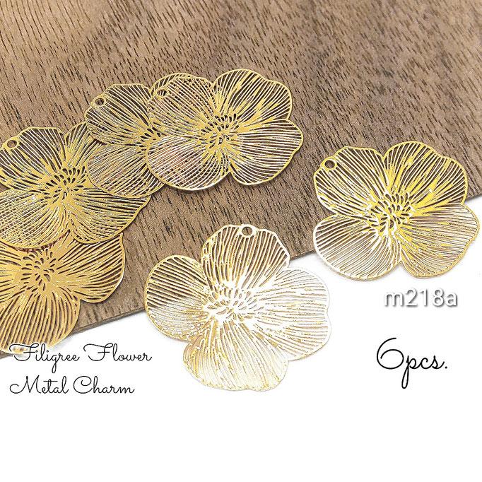 6個 薄*銅製 繊細な透かしフラワーデザインメタルチャーム A 約20×21mm【m218a】