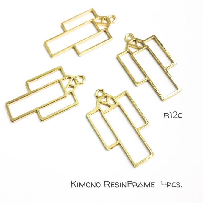 4個☆着物の和風レジンフレーム☆空枠【r12c】