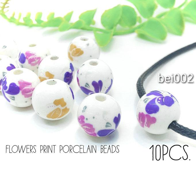 10個 約12mm ポーセリン陶磁器*フラワープリントビーズ【bei002】