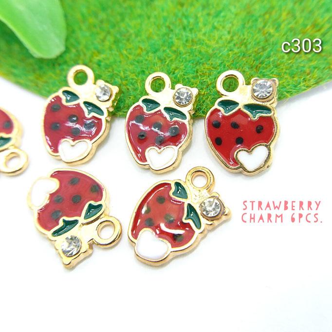 6個☆ストーン付きイチゴのチャーム☆フルーツ【c303】