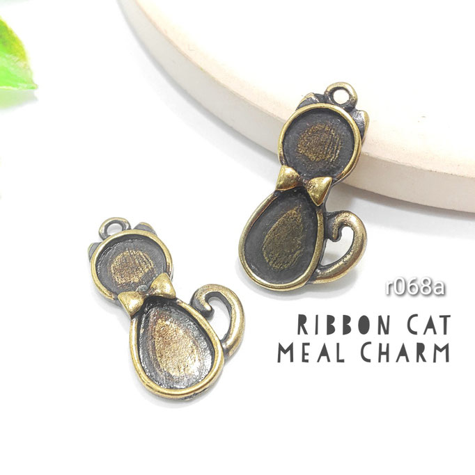2個 金古美 リボン猫のダブルミール皿チャーム 高品質【r068a】