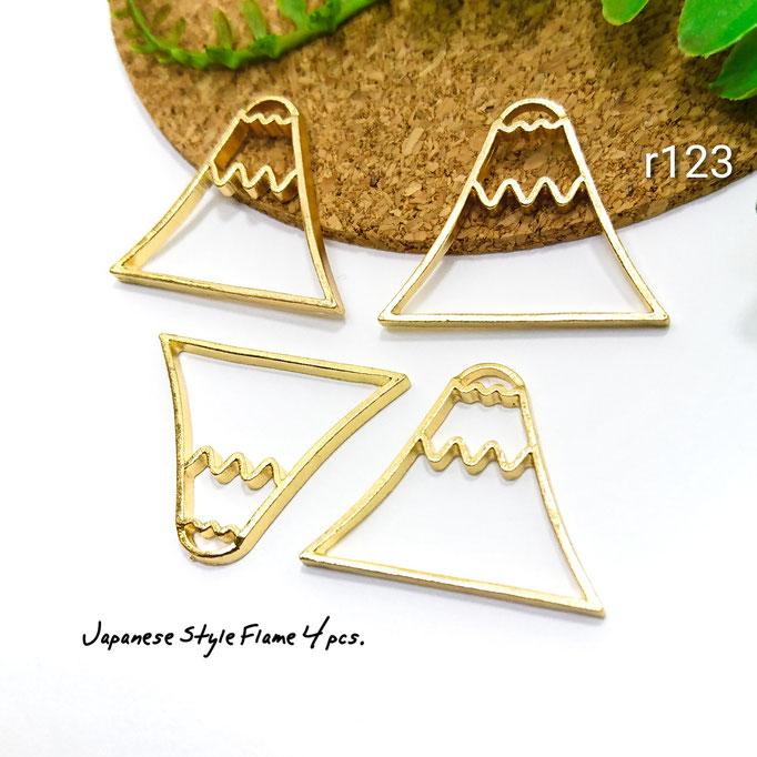 4個☆和風*富士山フレームチャーム☆約22×28mm【r123】