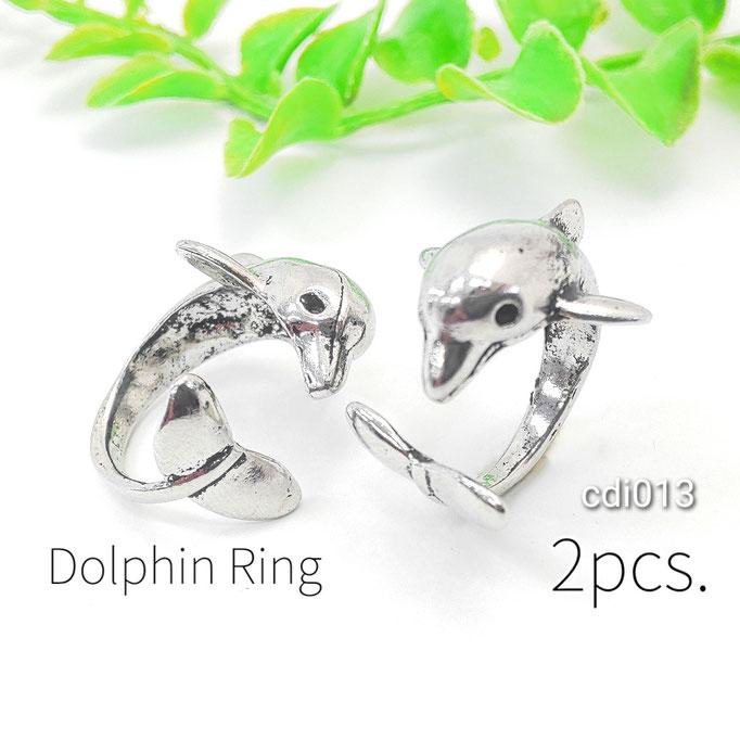 2個 イルカのマリンスタイル カフリング アンティーク調シルバー色【cdi013】