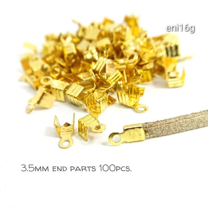 送料無料☆約100個☆3.5mm幅☆7㎜丈カシメ☆エンドパーツ☆ゴールド【eni16g】