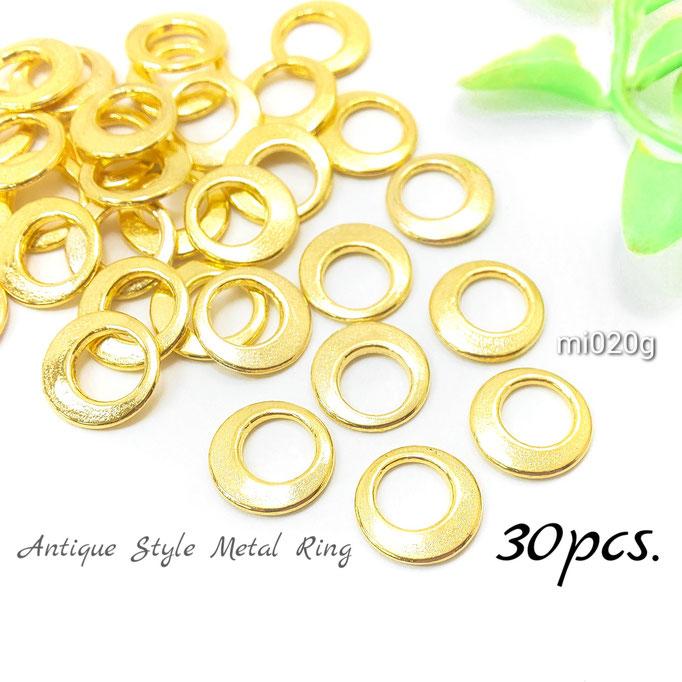 約30個 約12mm アンティーク調ドーナツリングメタルパーツ ゴールド色【mi020g】