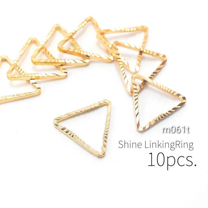 特価 10個 キラキラ細フレームヒキモノリング☆三角 1辺約10mm【m061t】