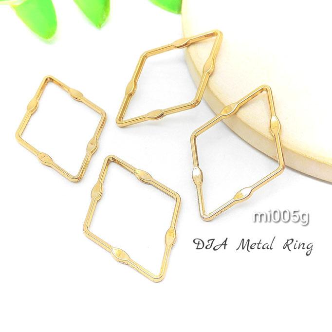 4個 約29×20mmひし形*デザインメタルリング ☆ゴールド色【mi005g】