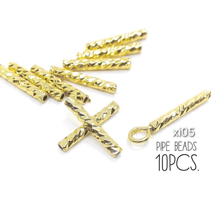 10本 真鍮製 長10mm 繊細な多面カットパイプビーズ【xi05】