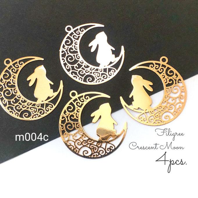 4個 薄*銅製 繊細な透かしのメタルチャーム 三日月×うさぎ【m004c】