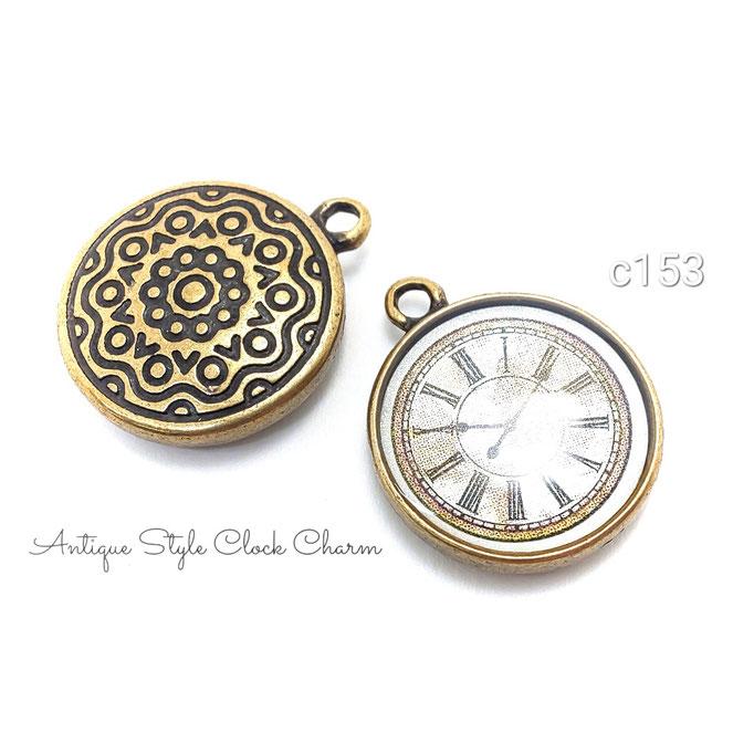 2個 アンティーク風懐中時計のチャーム☆高品質 金古美【c153】