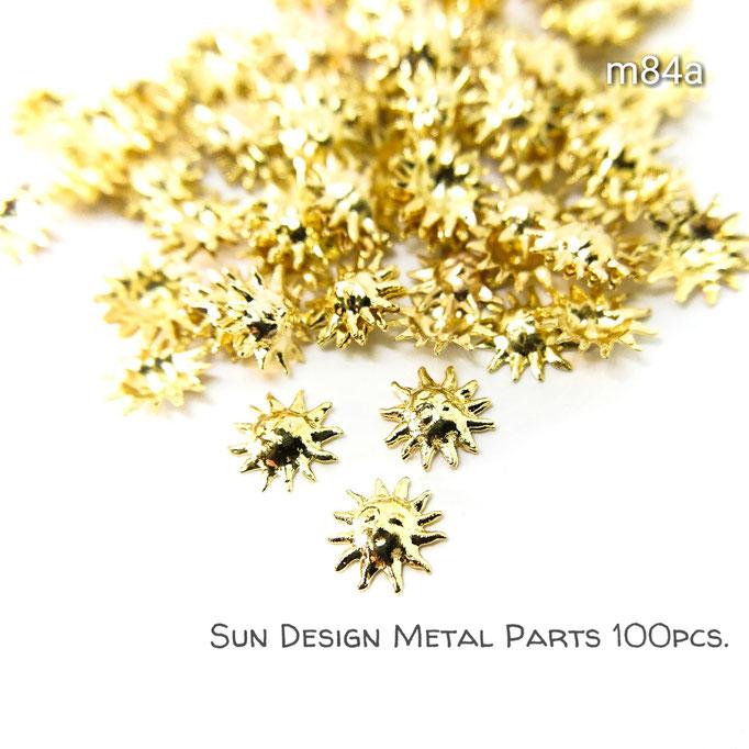 約100個☆銅99パーセント*極小メタルパーツ*6.5mm 太陽【m84a】