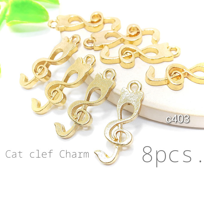 8個 猫モチーフの音符チャーム【c403】