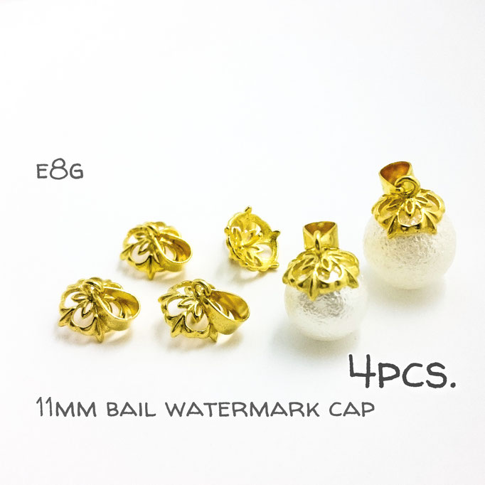 4個☆約11mm☆バチカン付き透かしヒートン☆パールやビーズに☆ゴールド【e8g】