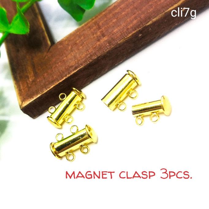 3セット☆マグネットスライドクラスプ☆磁気留め具☆ゴールドカラー☆【cli7g】