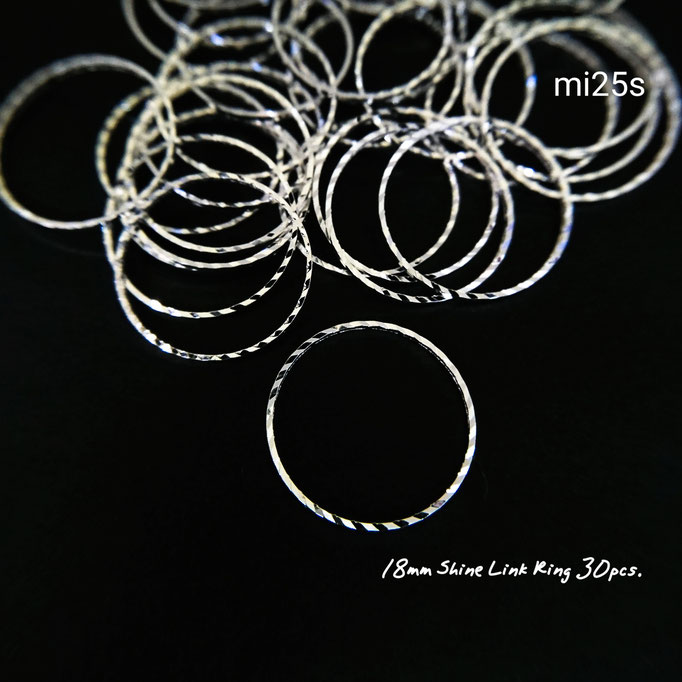 約30個☆直径約18㎜ 真鍮製のキラキラリンクリング☆シルバー色【mi25s】