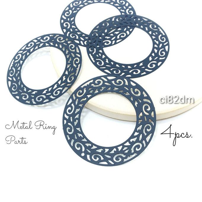 4個 薄*430ステンレス製 大ぶりメタルリング ダークマリン【ci82dm】