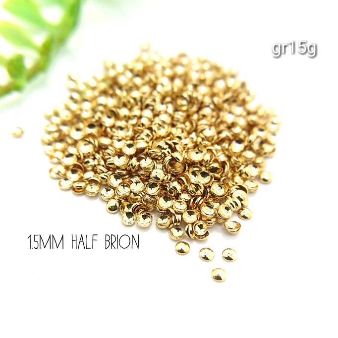 約5g☆約1.5㎜キラキラ半円ブリオン☆レジンやネイルに☆ゴールド色【gr15g】