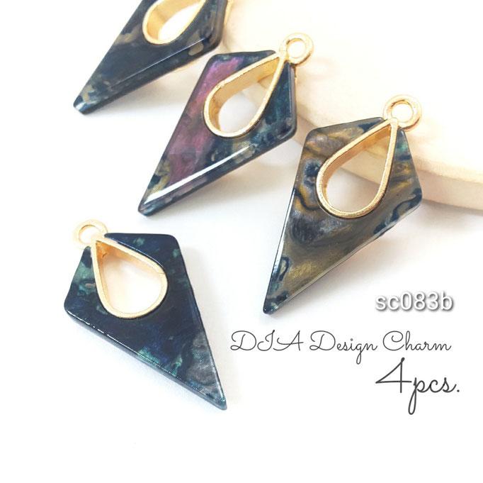 4個 ダイヤ型×ドロップ台座のアクリルチャーム Bタイプ【sc083b】