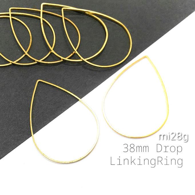 10個☆長約38㎜ 大ぶり ドロップ*ヒキモノリング ゴールド色【mi28g】