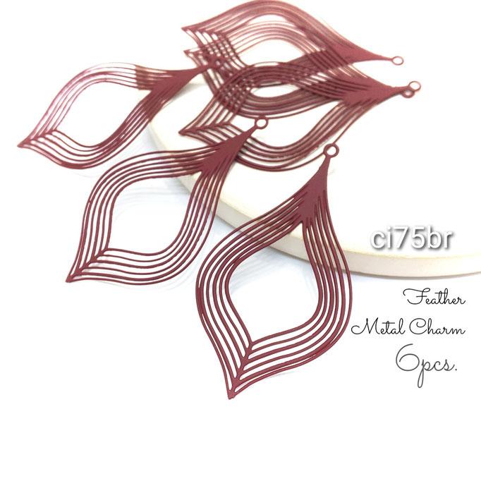 6個 薄*430ステンレス製 フェザー透かしメタルチャーム バーガンディ【ci75br】