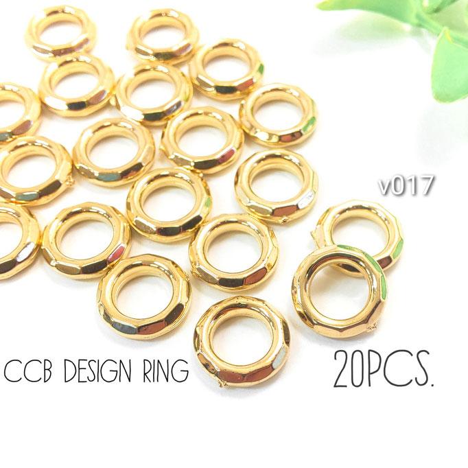 20個 約12mm CCB-多面デザインリングパーツ*スペーサーとしても【v017】