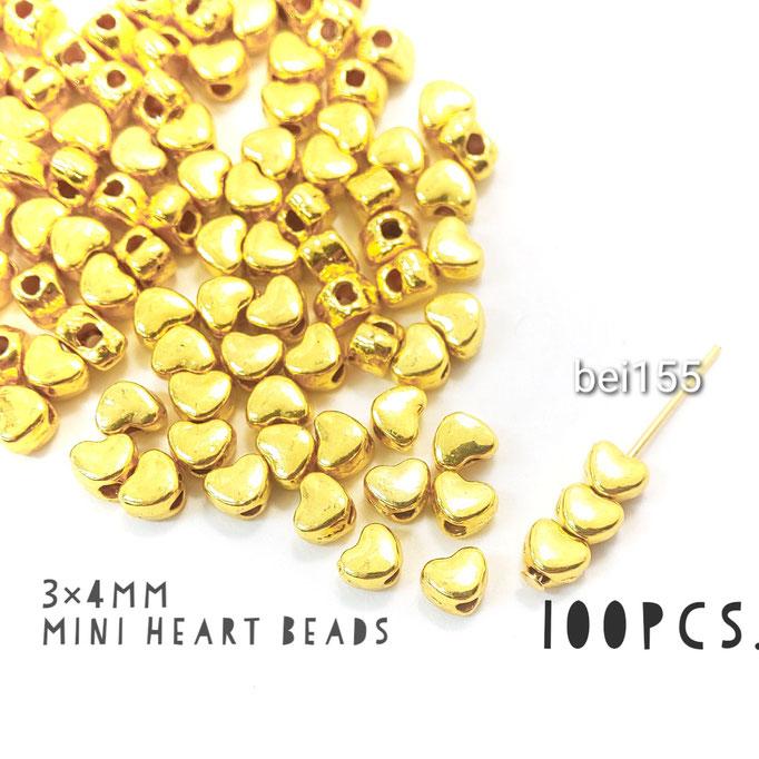 約100個 約3×4mm * ハートのミニビーズ☆鉛・ニッケル・カドミウムフリー【bei155】