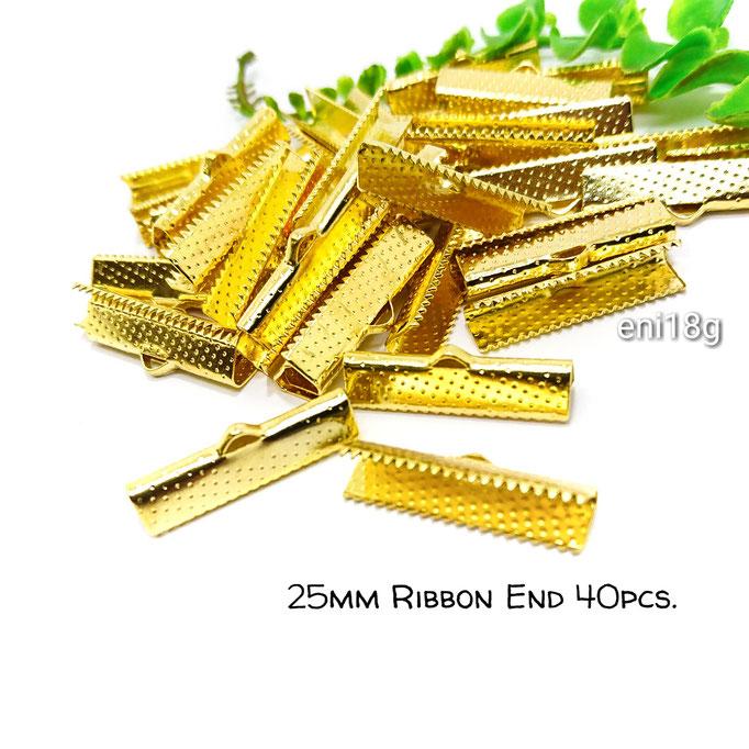 約40個☆25mm幅 ワニ口リボンエンドパーツ☆ゴールド色【eni18g】