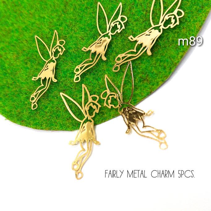 5個☆銅99% * 繊細な加工の妖精のメタルチャーム【m89】