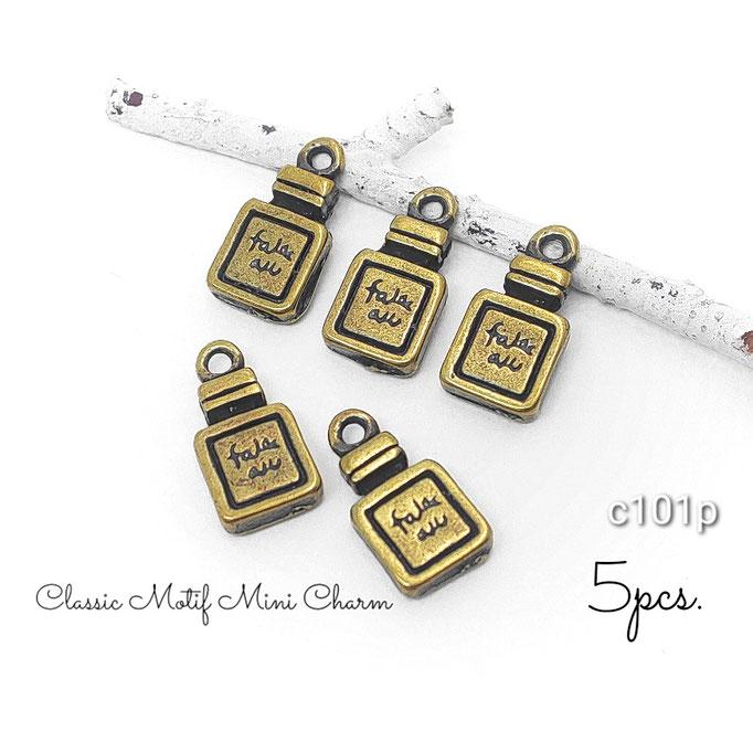 5個 金古美色クラシックモチーフminiチャーム 高品質☆香水 約9×6mm【c101p】