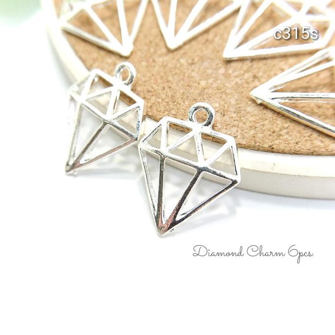 6個☆半立体ダイヤモンドモチーフチャーム☆シルバー色【c315s】