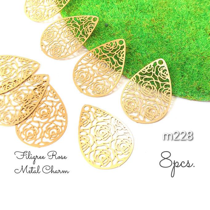 8個 薄*銅製 繊細な薔薇透かし ミニドロップメタルチャーム【m228】