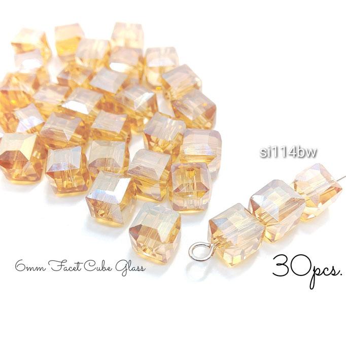 30個前後☆約6mm-パール鍍金ファセットキューブガラスビーズ☆バーリーウッド【si114bw】
