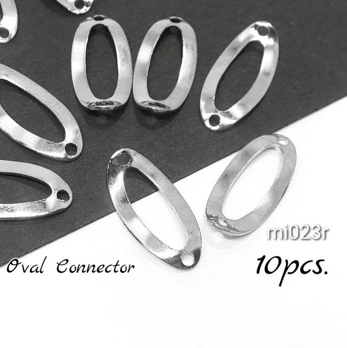 訳アリ 10個 約17.5mm-真鍮製 ウェーブオーバルコネクター☆ロジウム色【mi023r】