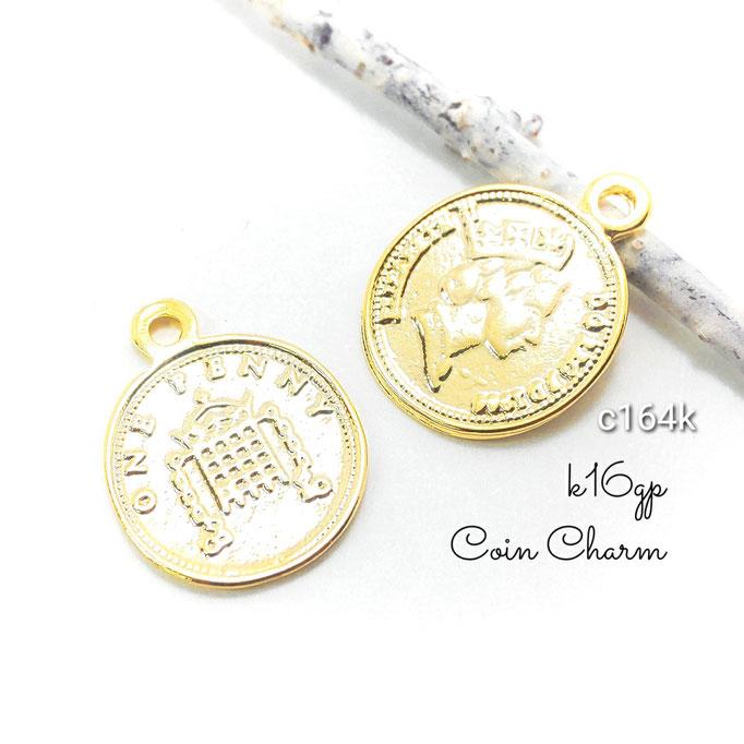 2個 高品質 ペニーコインデザインチャーム k16gp【c164k】